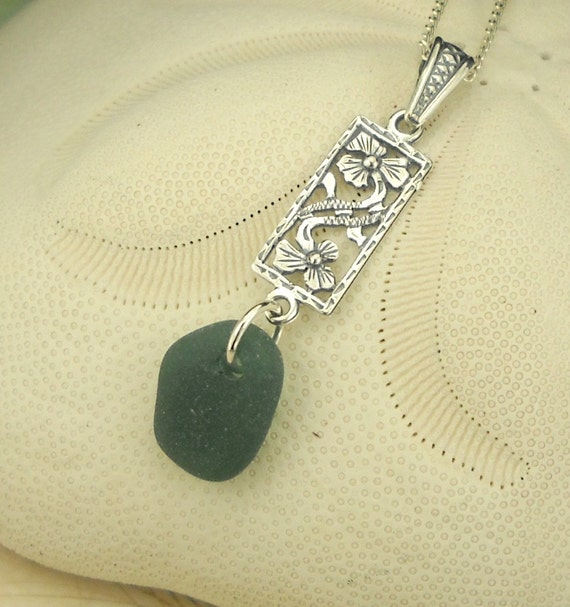 RESERVED GENUINE Sea Glass Jewelry Sterling Silver Teal Necklace
