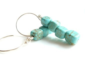 Stone Cube Earrings - tiny simple squares of turquoise blue howlite stone with delicate little .925 sterling silver hooks