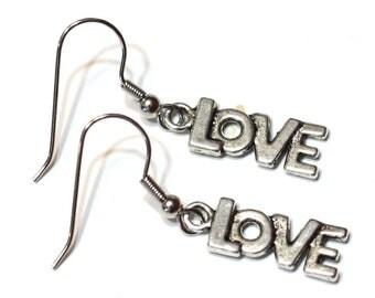LOVE Earrings - silver plated charm earrings / holiday earrings / valentines / womens jewelry / charm earrings