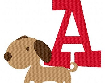 Puppy Dog with Monogram Machine Embroidery Monogram Design Set, Machine Embroidery Designs, Embroidery Font // Joyful Stitches
