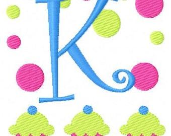 Bake Shop // Cupcake // Monogram Embroidery Font Design Set, Machine Embroidery Designs, Embroidery Font // Joyful Stitches