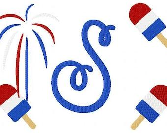 Patriotic // 5x7 // Monogram Machine Embroidery Font Design Set, Machine Embroidery Designs, Embroidery Font // Joyful Stitches