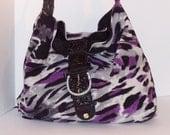 Soft Purple Leopard Print with Black Microsuede Purse / Handbag / Satchel / Pouch / Bag / Shoulder Bag / Tote / Diaper Bag / Over Night Bag