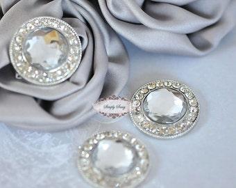 10 Rhinestone Flat back Buttons - Flatback Rhinestone Embellishments - LARGE - RD291