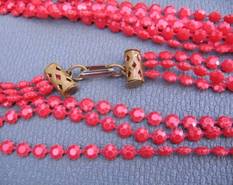 Gorgeous Vintage Triple Strand Red Faceted Bead Necklace Barrel Clasp
