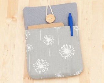 kindle paperwhite cover / Nook GlowLight case / kindle case / kobo mini case / Nexus 9 case - dandelion in grey with pockets --