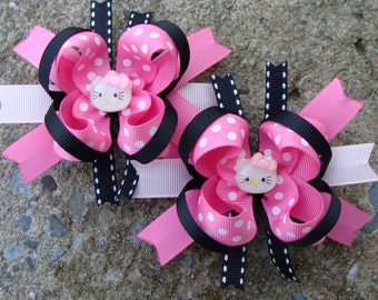 Kitty Boutique Hair Bows Set Mini Boutique Hair Bow Set Pigtail Hair Bows