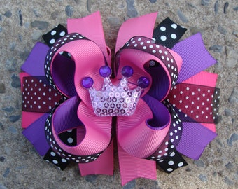 Pink and Purple Hair Bow Princess hair bow Crown hair bow.