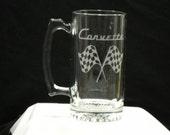 Glass mug with the origional corvette emblem on it