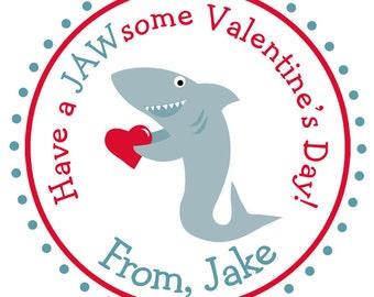 Valentine stickers Valentines stickers Shark Valentine's Day Stickers -- shark sticker - Valentine