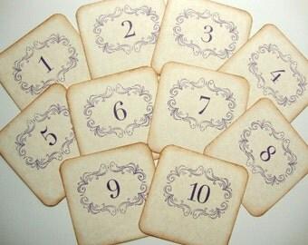 Purple Wedding Table Numbers Rustic Vintage Style