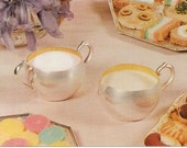 Silverplated Sugar and Creamer Vintage Postcard Advertisement with Hors D'oeuvre and Sweets Plates - Food Postcard - Ad Postcard