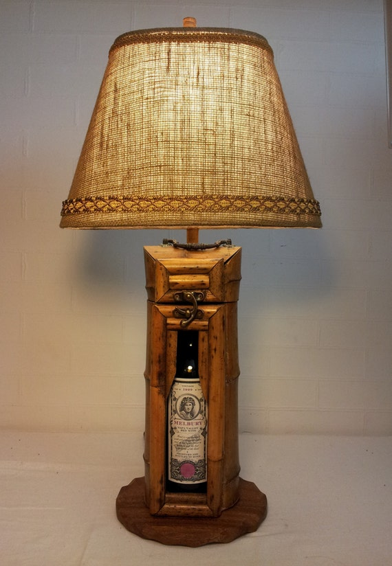 Unique One Of A Kind Bamboo Wine Carrier Lamp With By