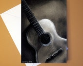 Art Greeting Card  - Created from Original ACEO drawing for Charity - Blank Notecard - 4x6 - Acoustic Guitar - Day 342