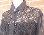 80's Black Sequin Blouse