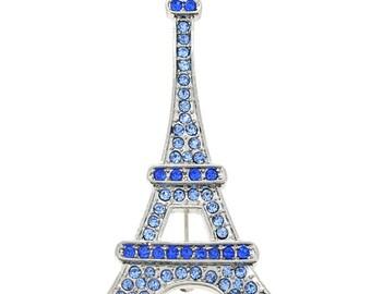 Sapphire Blue Paris Eiffel Tower Brooch/Pendant 1001832
