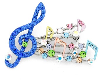 Blue Music Note Multicolor Swarovski Crystal Pin Brooch 1011652