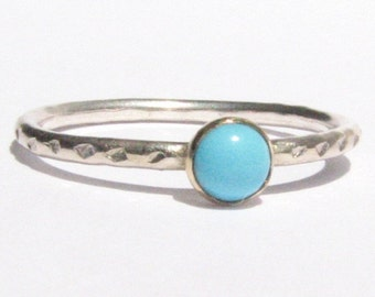 Turquoise Ring - 14k Solid Gold and Silver Ring -  Stacking Ring.