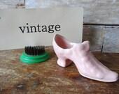Vintage Ceramic Victorian Ladies Shoe Figurine Planter Pale Pink