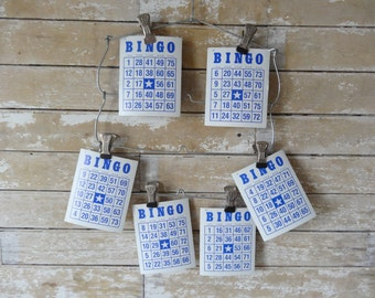 Vintage Bingo Cards Blue Cream Set of 5