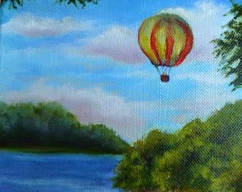 Hot Air Balloon Ride oil painting by Alexandra Kopp 6x6