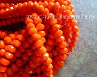 2 strands-- 200 pcs faceted crystal roundel in orange color - 6x4mm