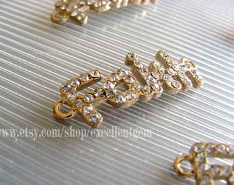 Faith-5pcs 14k gold tone with clear crystal rhinestone word side way bracelet connector-Jewelry making
