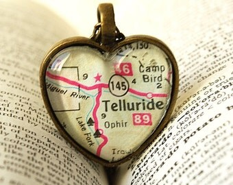 Colorado, Telluride Colorado, Colorado Necklace, Telluride Colorado Map Necklace, Jewelry, Necklace