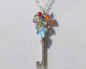 Large Sterling Silver Key with a Rainbow of Gems and Tiny  Butterfly