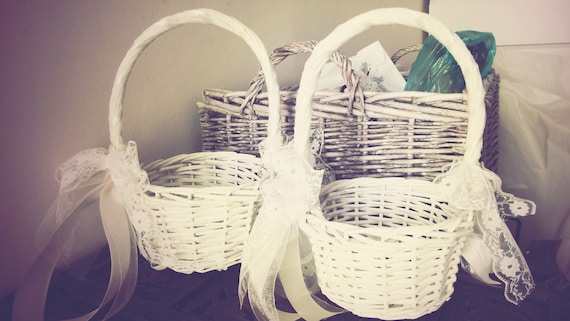 SET OF 2 BASKETS - Ivory Flower Girl Baskets with Lace and RIbbons, Chic Vintage Rustic Wedding baskets