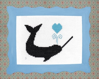 Narwhal Whale Cross Stitch Kit