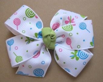 Lollipops Pinwheel Bow--Girls Pinwheel Bow
