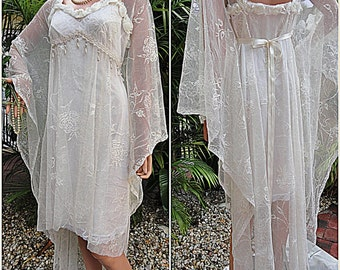 Vintage Lace Bohemian Bridal Kaftan Style Hollywood Gown-Fairytale Whimsical Reclamed lace long bridal dress in white or ivory