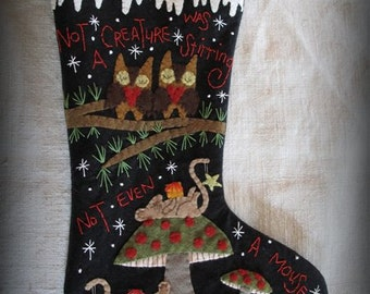 FINISHED PIECE Not A Creature Was Stirring Christmas Stocking by cheswickcompany