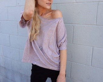 Lilac Box Tee with Faux Alligator Print