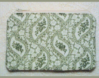 Coin Purse with Zipper Closure Handmade with Sage Green Paisley Fabrics