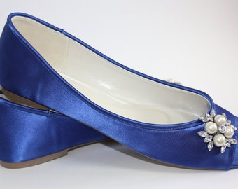 Wedding Flats - Wedding Shoe - Blue Wedding Shoe - Blue Ballet Flats - Blue Bridal Flats -Flat Wedding Shoe -Wedding Shoe Flats - 200 Colors