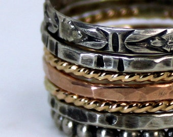 Gold Stack Ring - Mixed Metal Stack Ring - Rose Yellow Gold Rings Sterling Silver Stack Ring - Set of 7 Stack Rings - Custom Stack Ring