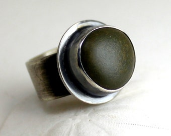 Beach Stone Ring - Green Ring - Sterling Silver Ring - Sterling Silver Stone Ring - Handmade Jewelry