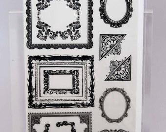 KaiserCraft Black Rub Ons -- Timeless Frames -- Ornate Victorian Steampunk Shabby Chic