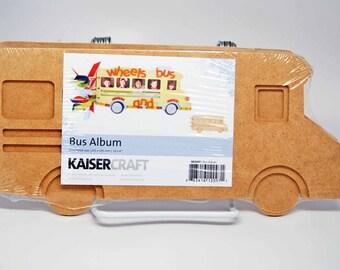 SALE KaiserCraft Wood Bus Album  -- Unfinished -- Do It Yourself School Days Memories