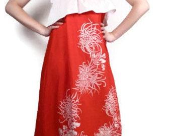 Vintage 70s Red Maxi Dress / Ruffle Maxi Dress / Hawaiian Dress M