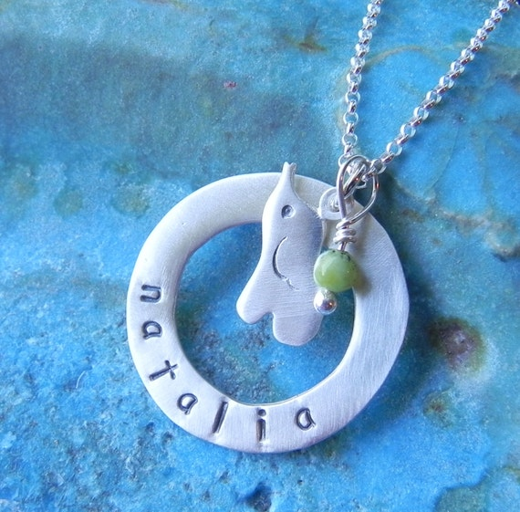 Personalized elephant sterling silver necklace with a round hoop and birth stone, baby shower gift