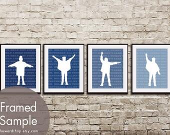 HELP - Beatles Album Set of 4 - Art Prints (Featured in Navy) Vingtage Modern Art Prints