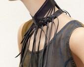 Fringe leather collar  //  Shredded black leather Neck corset