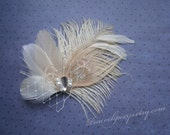 Bridal Fascinator Head Piece, Feather Hair Clip, Wedding, bridal, Hair Accessories, ivory, peacock, white - IVORY BLISS