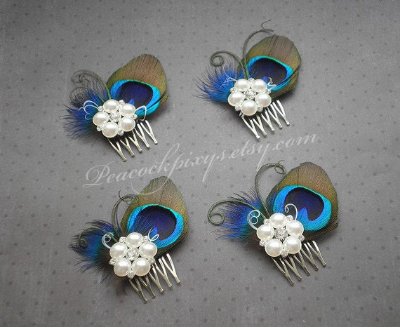 Peacock wedding hair accessories, feather fascinator, feather hair clip, peacock feather comb, bridesmaids, bridal - PRETTY Peacock