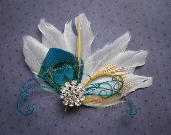 Bridal Peacock Facinator, Feather Hair PIece, Wedding Hair Accessory, peacock feather hair clip, Turquoise Peacock feather - WHITE OASIS