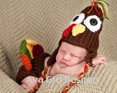 Newborn baby hat and diaper cover set Thanksgiving turkey boy girl