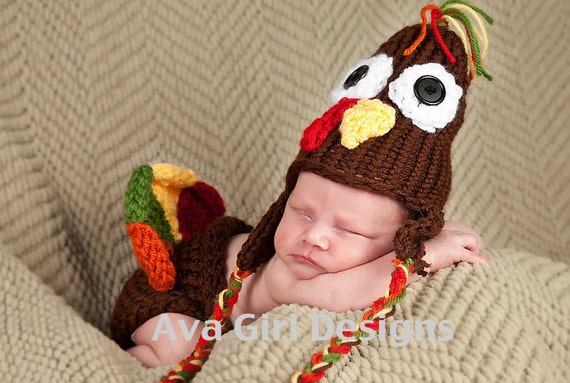 Newborn baby hat and diaper cover set Thanksgiving turkey boy girl